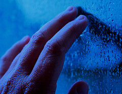 Come Back To Me Hand and Raindrops in Blue Creative