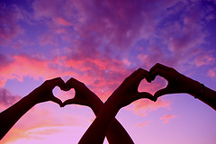Double Love Heart Hands At Sunset_pink